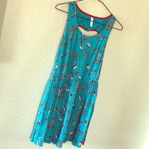 Teal Blue Bird Heart Cut Back Dress with Pockets